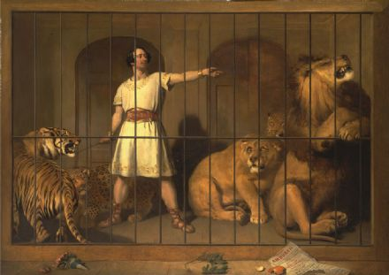Landseer, Sir Edwin: Portrait of Mr Van Amburgh as he Appeared with his Animals at the London Theatre. Art Print/Poster. Sizes: A4/A3/A2/A1 (00102)